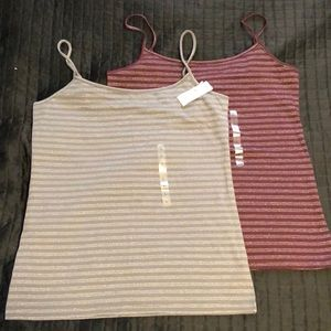 NWT Set of Two Shimmery Striped LOFT Tank Tops